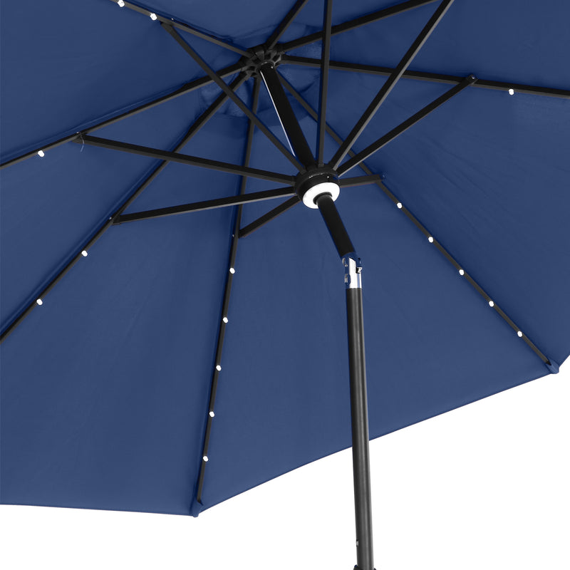 Ainfox 10Ft Solar Powered 32 LED Lighted Aluminum Patio Table Market Umbrella with Tilt and Crank for Garden,Deck,Backyard,Pool.