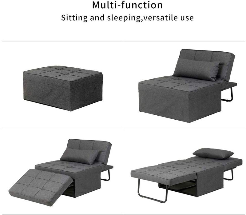 Ainfox Folding Ottoman Sleeper Guest Bed, 4 in 1 Multi-Function Adjustable Ottoman Bed Bench Guest Sofa Chair