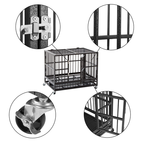 Heavy Duty Metal Foldable Double Door Dog Crate