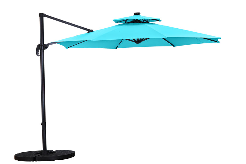 11 FT UV Protection Patio Offset Cantilever Umbrella 360° with Cross Base Tilt