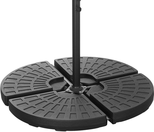 HDPE Round Fan-Shaped Hanging Umbrella Base Stand for Patio – Black