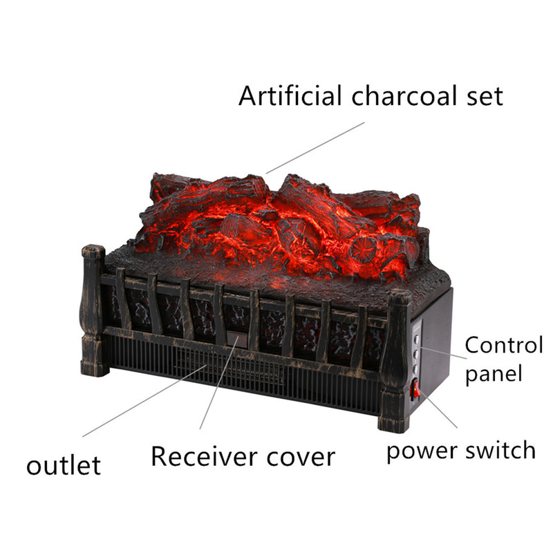 Ainfox Electrical Log Set Fireplace Stove Heater,With Realistic Ember Bed Remote control Overheat protection 1500W Black