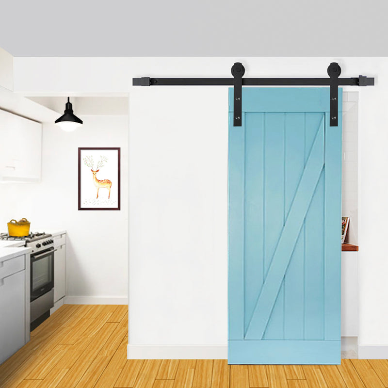 Ainfox 6.6 FT Black Single Sliding Barn Door Closet Hardware Set Kit Antique Country Style Steel Frosted