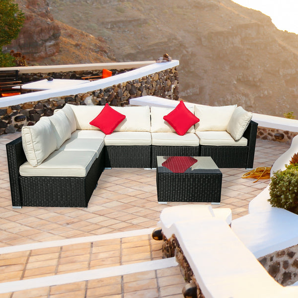 Ainfox 2/3/5/7/12 Pieces Outdoor Patio Furniture Sets PE Rattan Wicker Sofa Sectional with Beige
