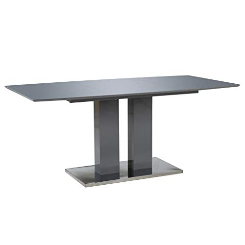 Table rectangulaire en MDF - Gris/Brillant