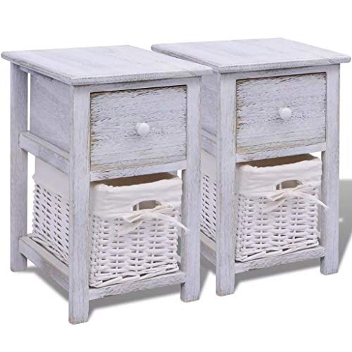 Lot de 2 tables de chevet en bois Blanc