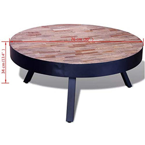 Table basse ronde en Teck recyclé