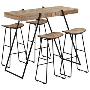 Ensemble de bar en teck recyclé 1 table + 4 tabourets