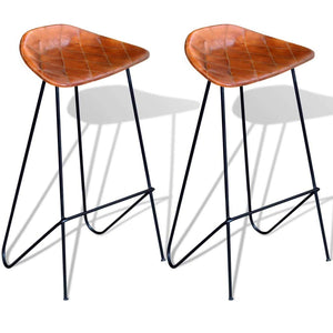 Lot de 2 chaises de bar en cuir véritable - Marron