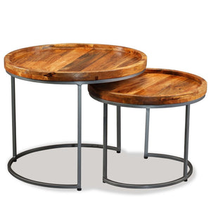 Ensemble de 2 tables d'appoint en bois de Manguier