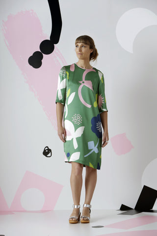 Flores Shift Dress: Green