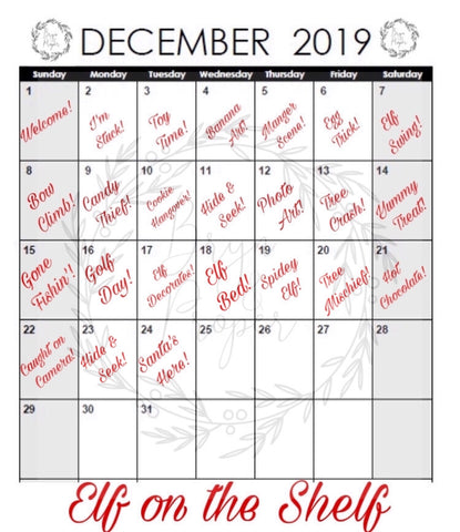 Elf on the Shelf Calendar Free