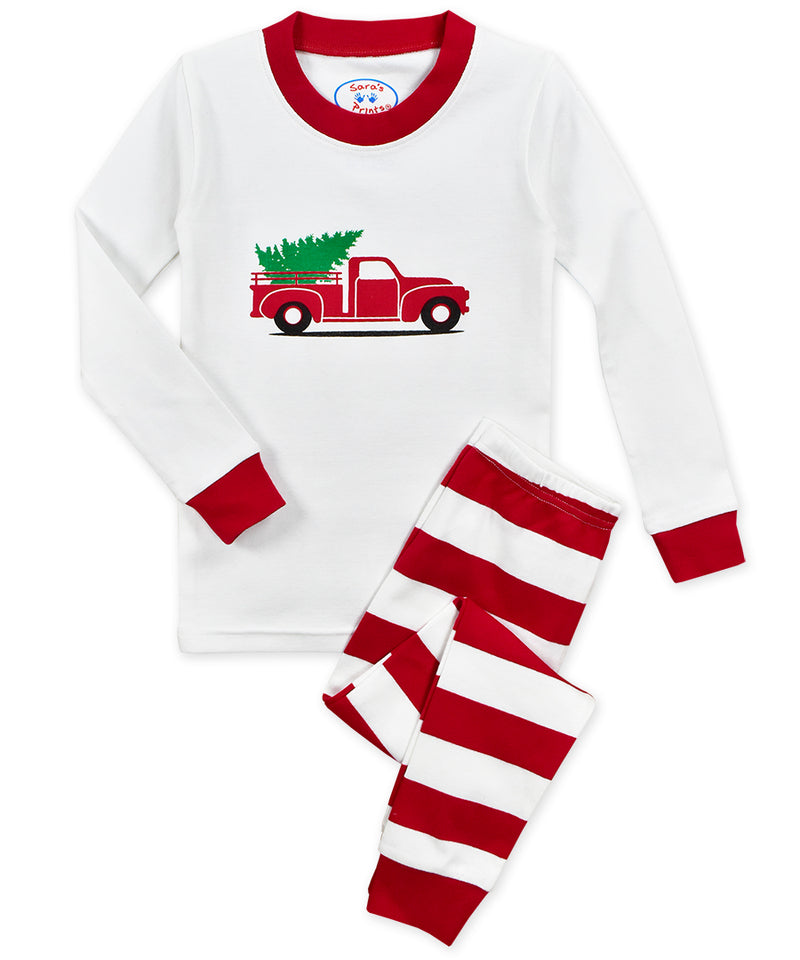 kids personalized christmas holiday truck tree pajamas striped