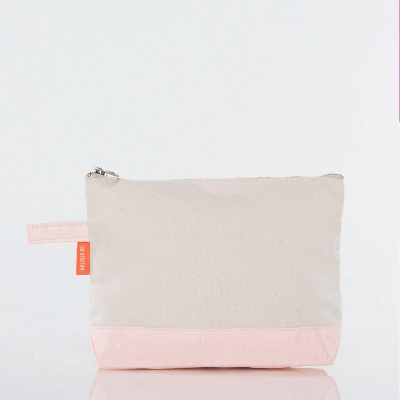 Canvas Catch All Pouch - Metallic Pink