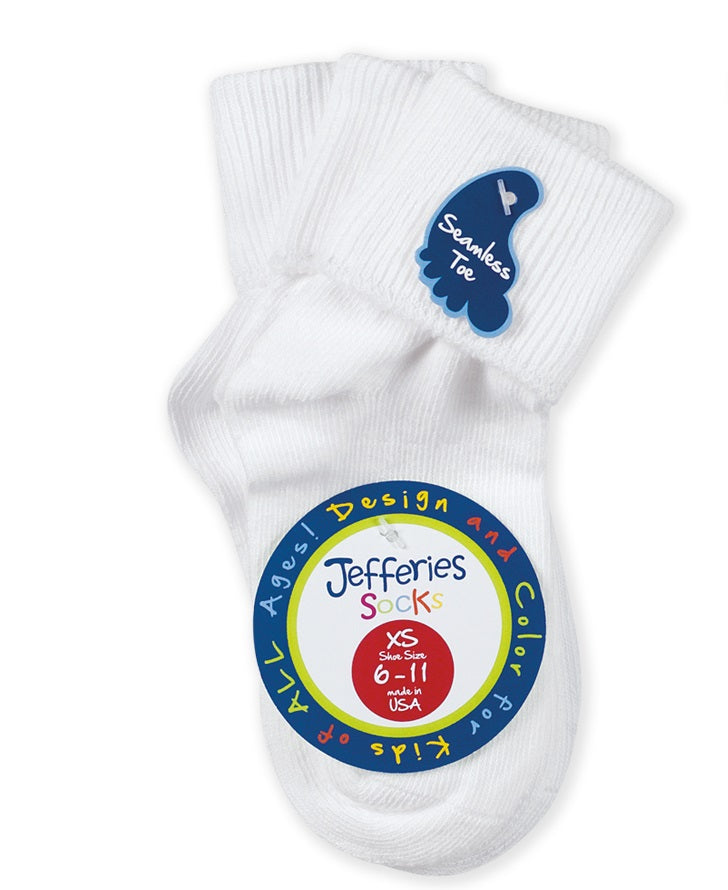 Jefferies Seamless Turn Cuff Sock white kids baby