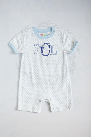 JAMES LIGHT BLUE DOT ROMPER