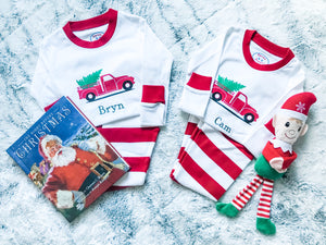 kids personalized christmas holiday truck tree pajamas set striped