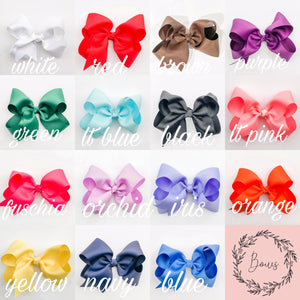 bryn and proper ribbon colors for hairbow white red brown purple green light blue black light pink fuschia orchid iris orange yellow navy blue