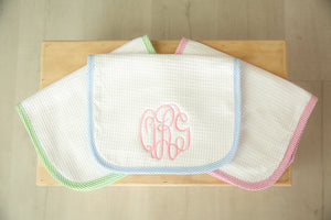 Seersucker Bib and Burp Cloth Set