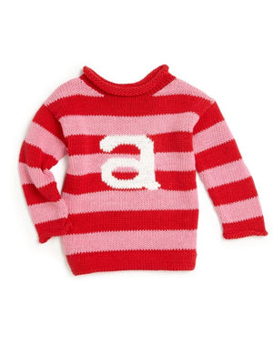 Childrens Initial Letter Sweater Custom Knit Little Boys Little Girls Baby Toddler Crew Neck Personalized Gifts