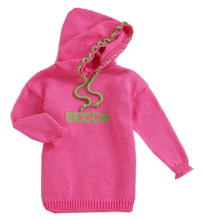 Custom Knit Name Hoodie Sweatshirt Baby Toddler Child Boy Girl Color Personalized