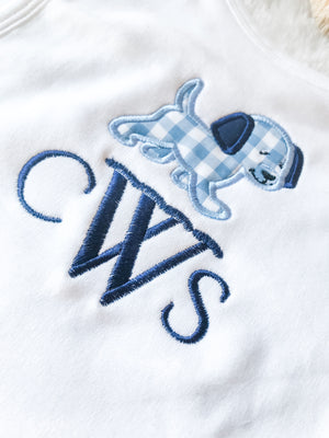 Gingham puppy monogram boys baby shower registry gifts layette blanket burp cloth bib