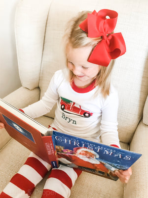 kids personalized christmas holiday truck tree pajamas