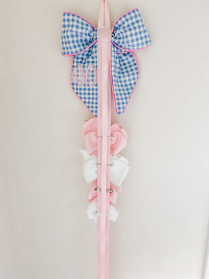 Blue Check Bow Holder