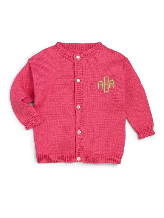 Custom Knit Monogrammed Cardigan Baby Toddler Child Kid Boy Girl