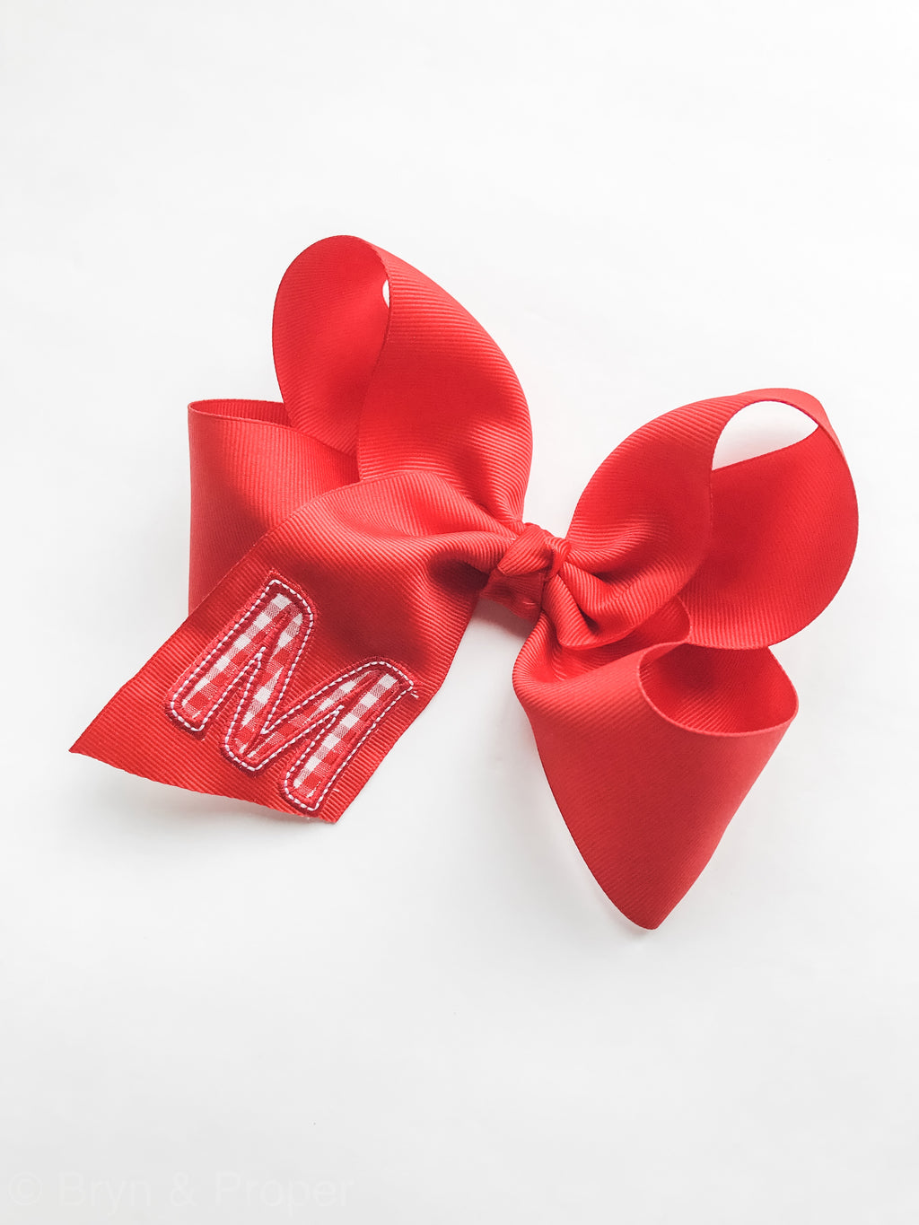 Gingham Initial Hairbow