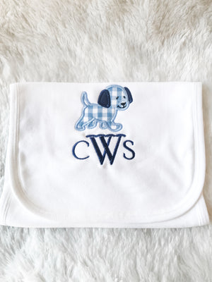 Gingham puppy monogram boys baby shower registry gifts burp cloth
