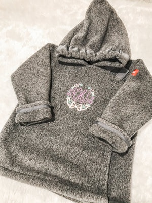 Widgeon fleece coat children toddler boys girls baby gray floral wreath monogram