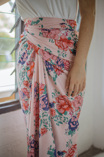 Chiller Knot Skirt in Pink Floral