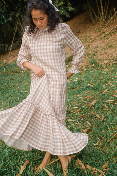 Apartment Dress in Brown Gingham
