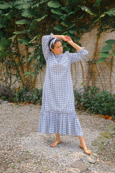 Apartment Dress in Navy Gingham