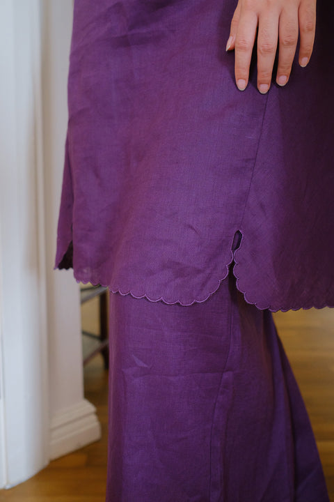 Madame Kurung Set in Purple with Embroidered Scarf