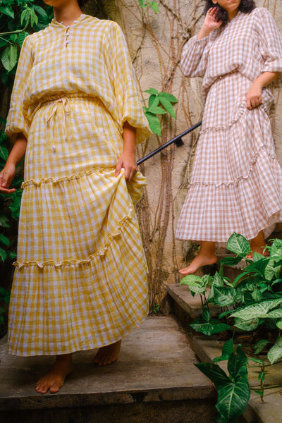 Cottage Skirt in Yellow Gingham