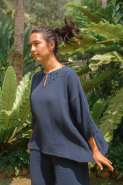 Awan Embroidered Kedah Top in Midnight Blue