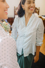 Sweet Pea Blouse in Green Dots