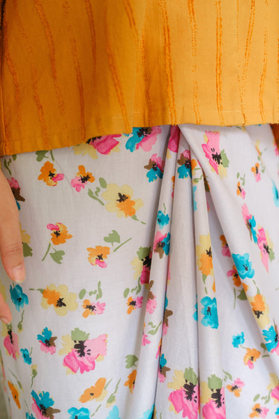 Chiller Knot Skirt in Blue Floral