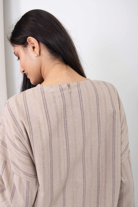 Inas Top in Light Brown Lines