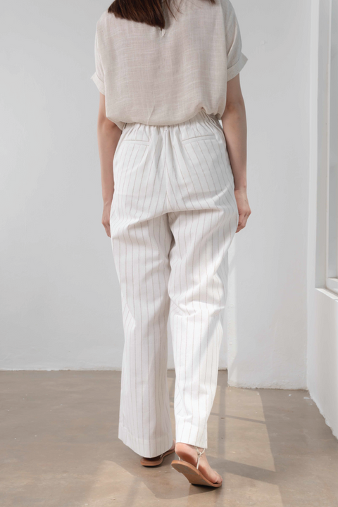 High Waisted Flare Pants in White