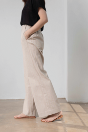 High Waisted Flare Pants in Sand
