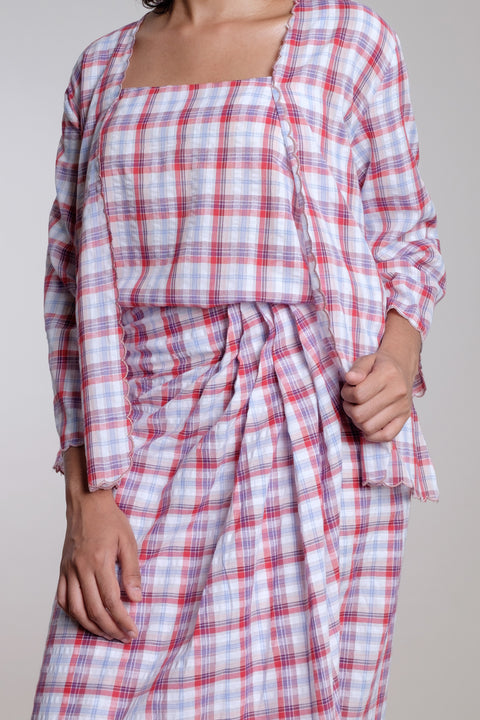 Wrap Skirt in Pink Checks