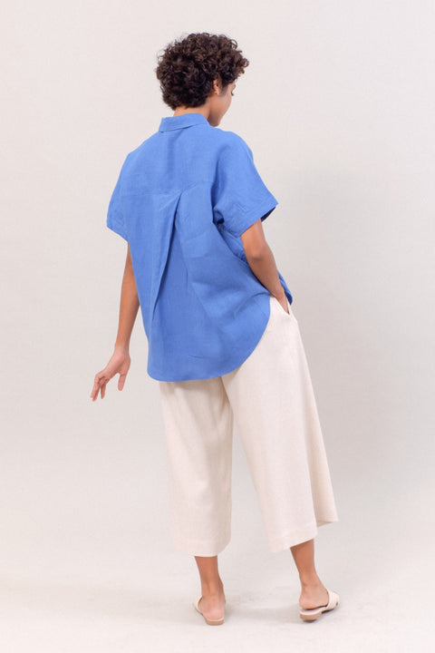 The Short Sleeve Linen Shirt in Blue