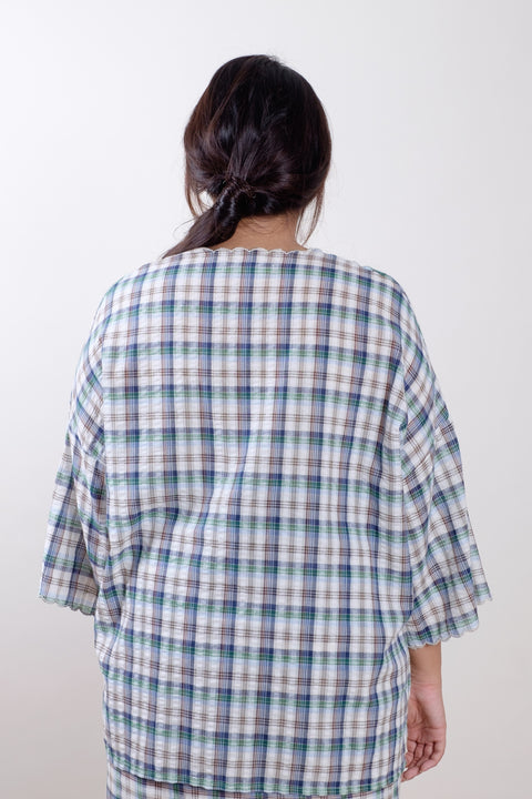 Raya Top in Navy Checks