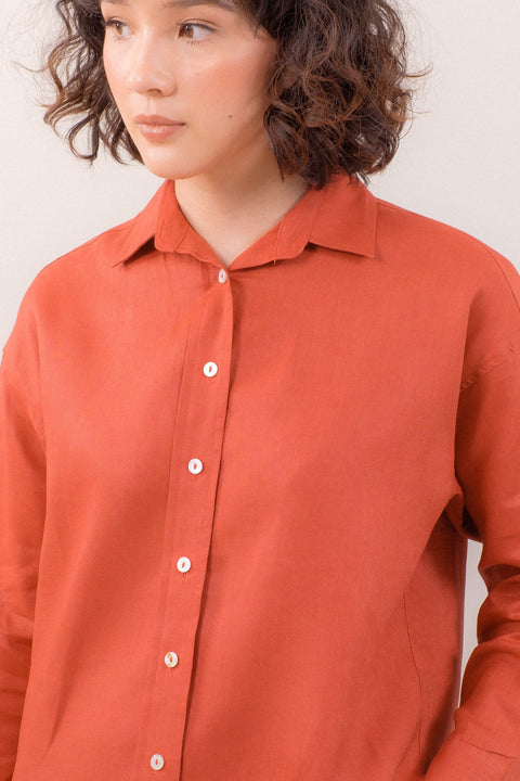 The Everyday Linen Shirt in Terracotta