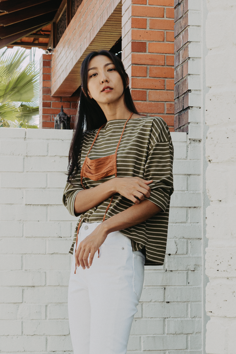 The Cream Of The Crop Striped Tee in Olive
