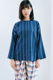 Inas Top in Navy Lines