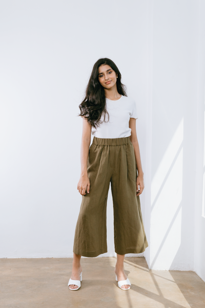 Comfy Culottes in Olive Green